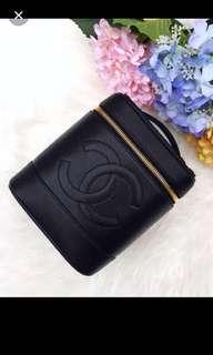Chanel Vintage Vanity Case in Black Caviar Leather