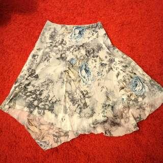 🚚 全新春夏專櫃雪紡紗白底淺藍花飄逸中長裙、魚尾裙