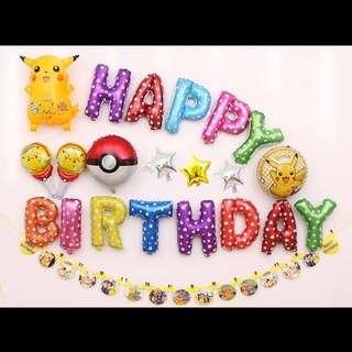 🦄 Happy Birthday Party Decor Balloon Set - Pokemon (Pikachu)