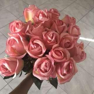 Bunch of artificial silk rose bouquet