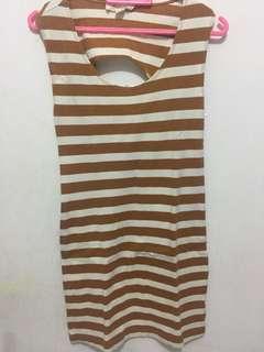 Dress (Atas Lutut) white brown