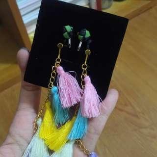 夾式耳環(黑綠原民手作/彩色俏皮流蘇)