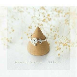 美女與野獸 玫瑰花純銀戒指