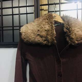 Winter Cardigan Brown with Removable Neck Collar In Fur
