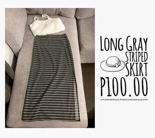 Long Gray Striped Skirt