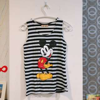 Mickey條紋無袖上衣