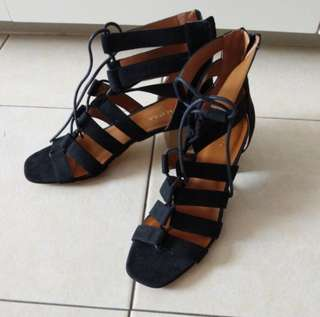 Black Gladiator Heel Sandals