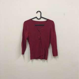 紅色 排扣 罩衫 針織七分袖上衣 古著 二手