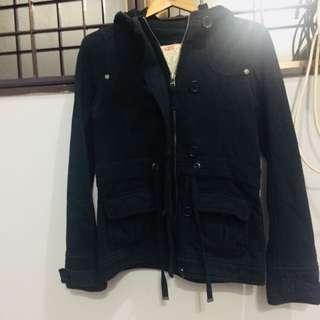 Black Winter Jacket with two ways of wearing either zip or button up