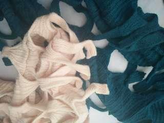包郵㊣女裝毛線針織圍巾18X180CM (只售藍色) $45/條