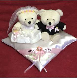 Personalised Wedding Bears with Ring Pillow-Classic