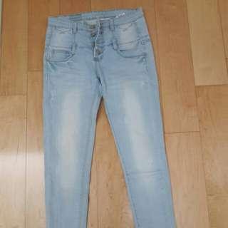 高腰三排扣牛仔長褲M8.5成新 二手 一起帶