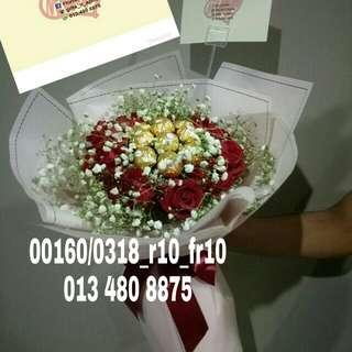 Gifts - roses n ferrero rocher bouquet