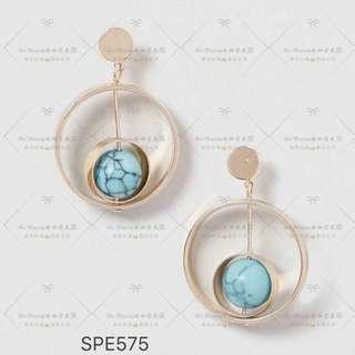 🚚 【Her Majesty的秘密花園】個性金屬寶石雙圓環耳飾耳環耳針SPE575