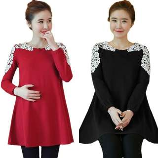 SIMPLE EMBROIDERED LACE TRIM DESIGN LONG SLEEVE MATERNITY BLOUSE / SHORT DRESS
