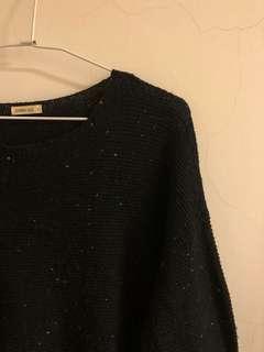 黑色 彩色點點 針織 長版上衣