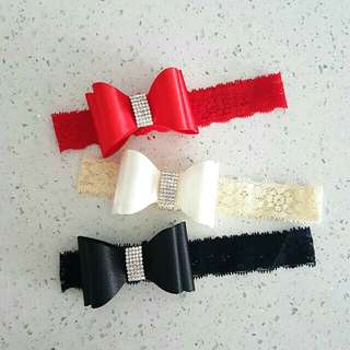 Exclusive Lacey Plain Bow Baby Headband!! 😉