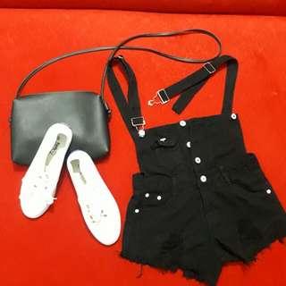 REPRICED! Ripped - Black Denim Dungaree shorts (Eunice Fashion)