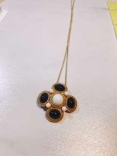 復古金色奢華鑲邊繩黑白石幾何長項鍊