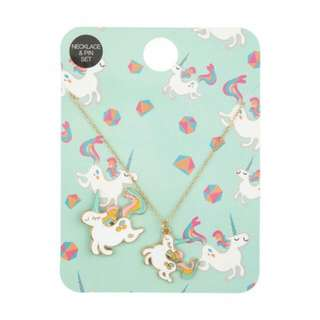 Pony Unicorn Necklace & Pin Set