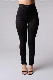 Fashion Nova black high waisted denim skinnies