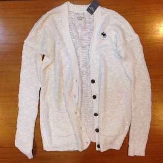 🚚 全新Abercrombie&Fitch AF A&F 女針織長版外套白