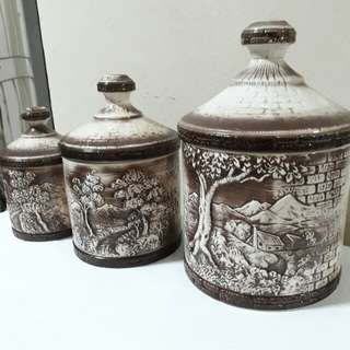 set of 3 Vintage Mount Fuji Japanese ceramic canisters