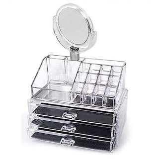 BN Acrylic Cosmetics Organizer with 3 Drawers & 1 Mirror
