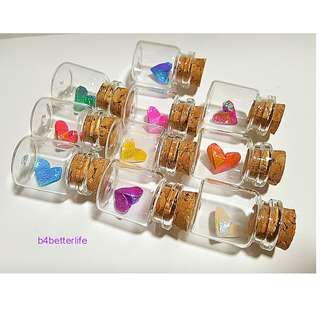 #CIB10-heart. Lot of 10pcs Hand-folded Paper Heart In A Mini Glass Bottle With Cork. (TX paper series).