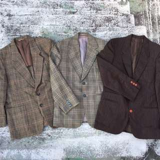 早期訂製 格紋 條紋 西裝外套 (vintage.古著)