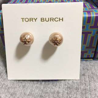 Tory Burch Stud Pearl Rose Earrings 玫塊金珍珠耳環