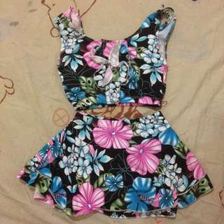 Floral Tank w/ Flowy Skirt Bottom