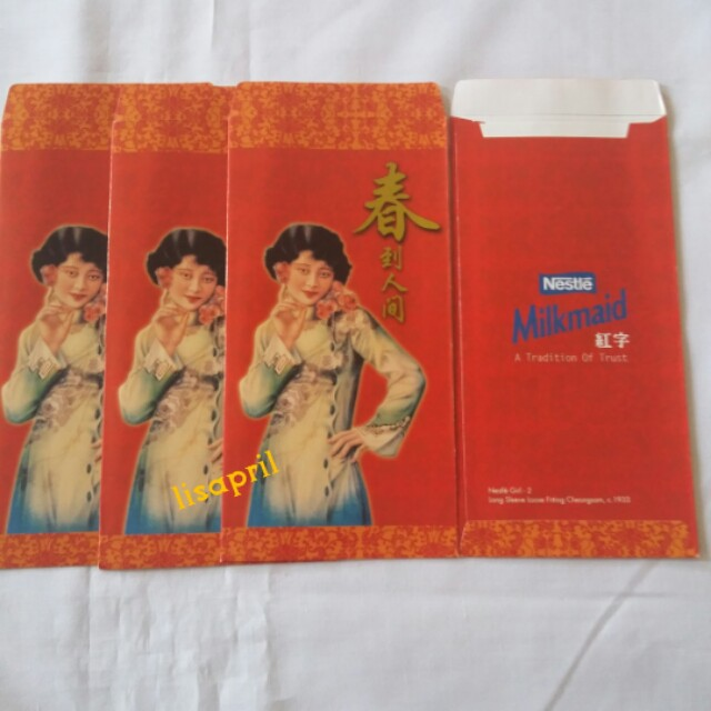 4 pcs *Milkmaid* Vintage Red Packet / Ang Pow / Hong Bao / Ang Pao