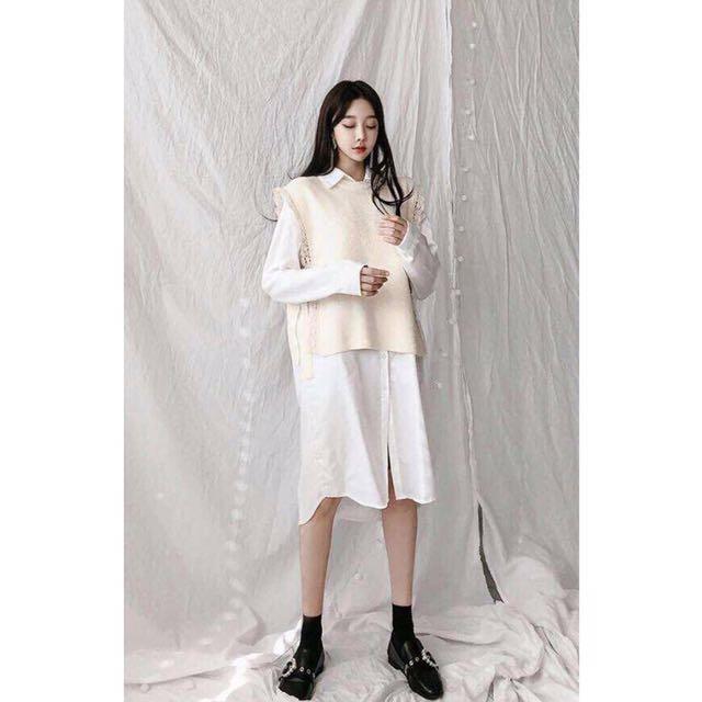 全新正韓白色長版襯衫棉質襯衫裙