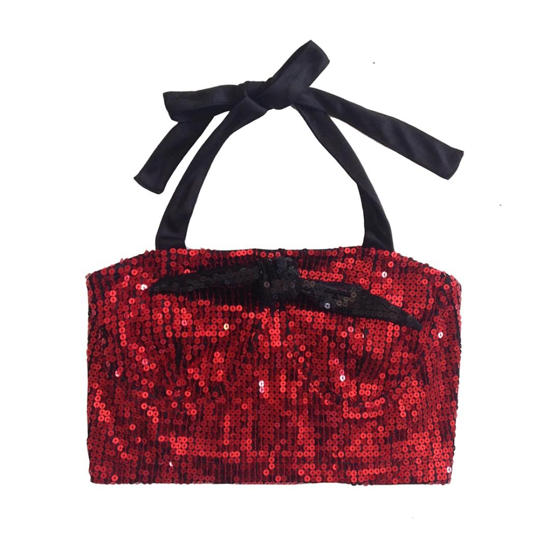 🆕 Sequin Red Bandeau Top