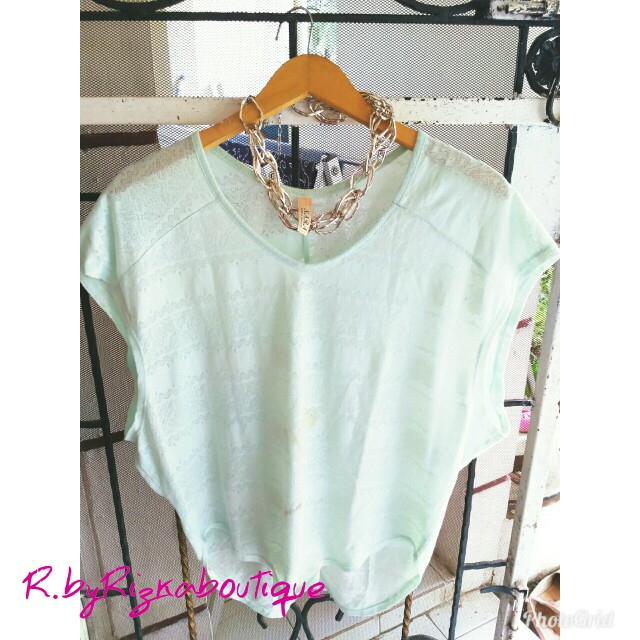 Baby Green Batwing Blouse