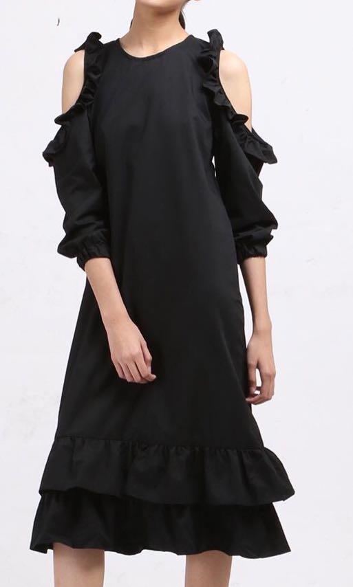 Black Cold Shoulder Ruffle Dress