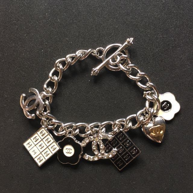 Chanel Inspired Silver Charm Bracelet Women S Fashion Jewelry On Carou