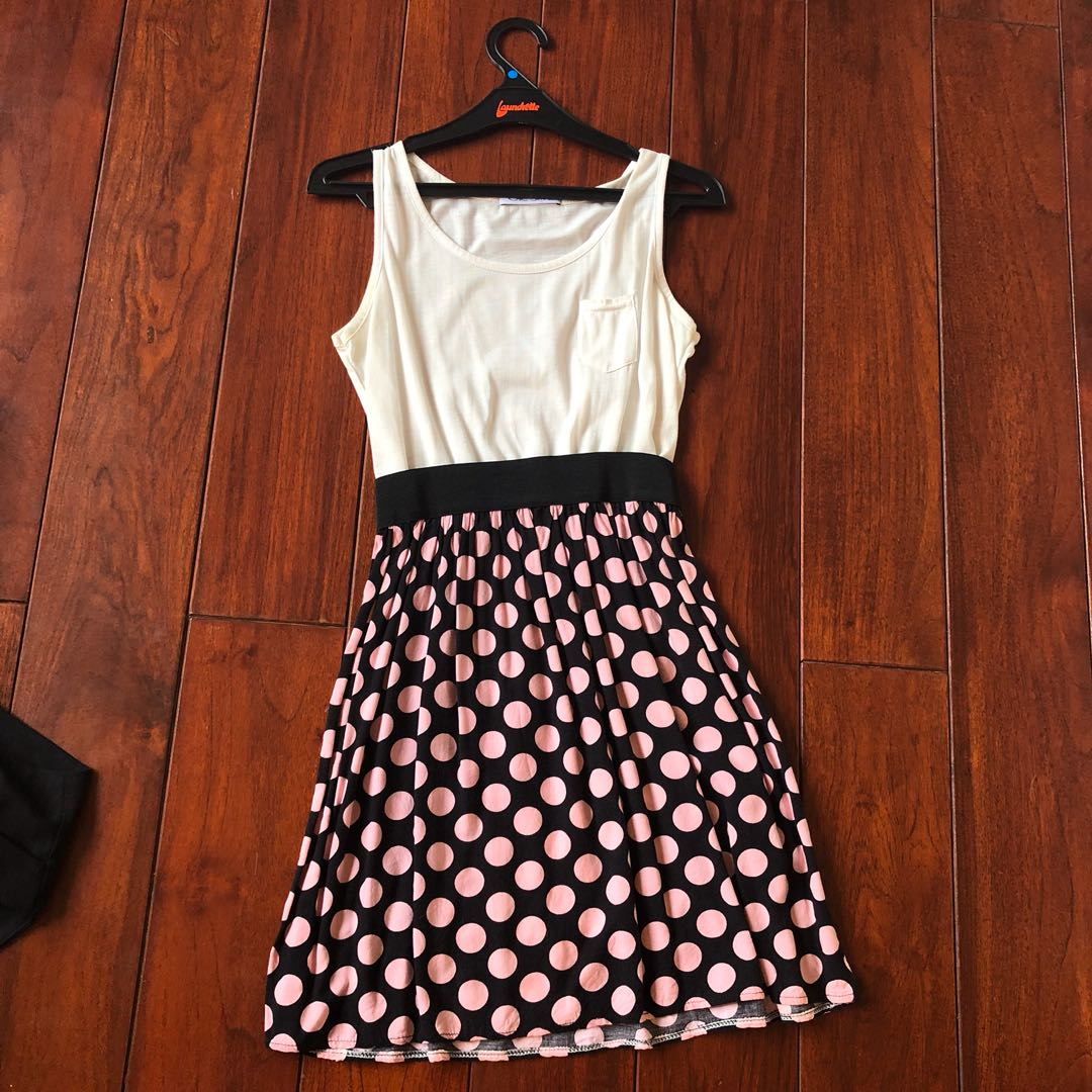 Chic Simple Polka Dot Dress with Pink and Black Print