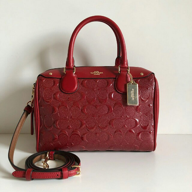 Coach Mini Bennett Satchel in Signature Debossed Leather  F11920 (Black and  Red) sz 24x17x11cm 1cb33a06ad