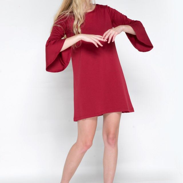 Colorbox bellsleeve red dress