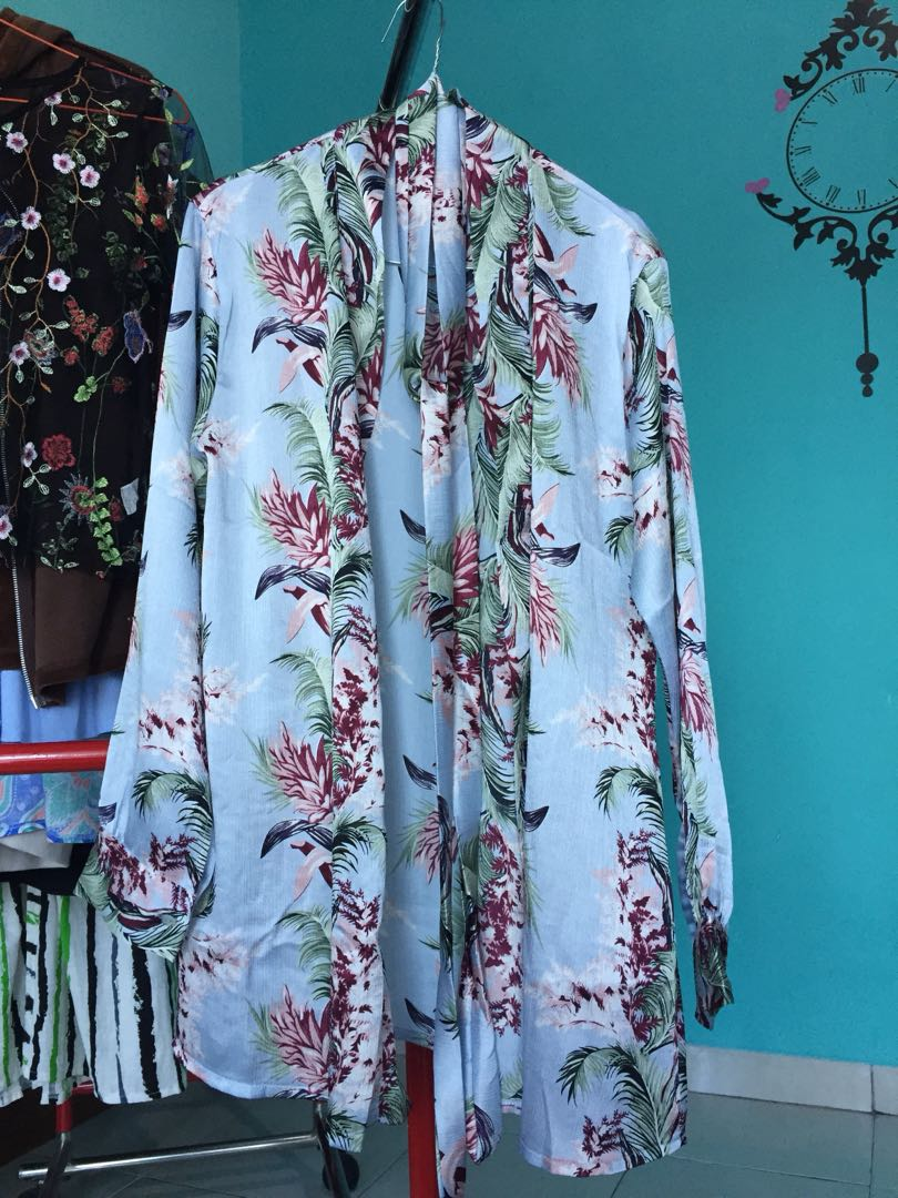 Floral prisket kimono outer (with belt)