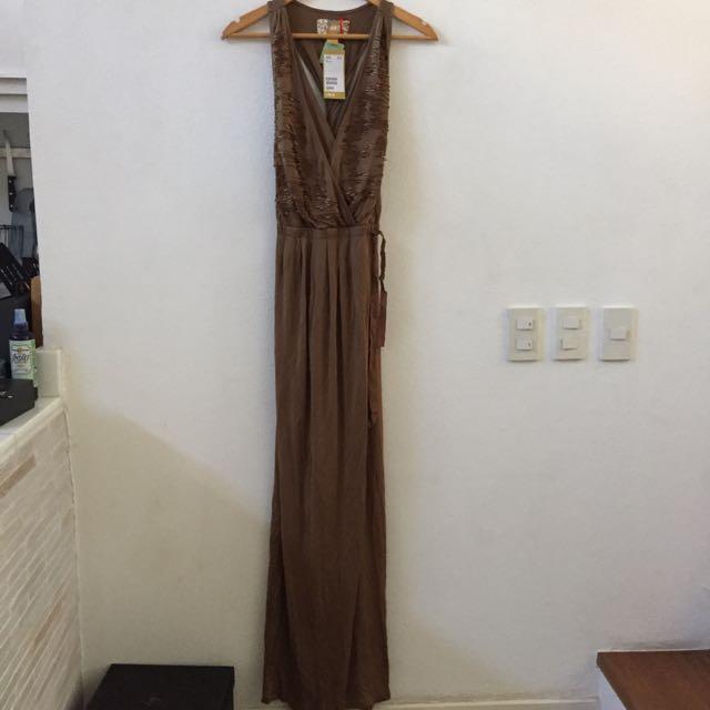 H&M Long Brown Beaded Dress