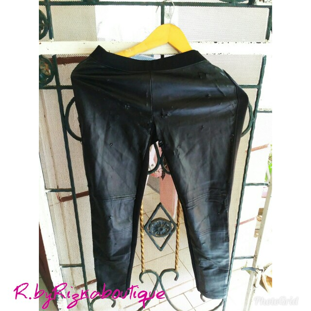 Homey Black Jegging Leather