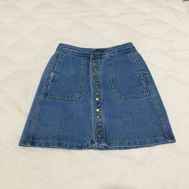 Jeans Button Skirt
