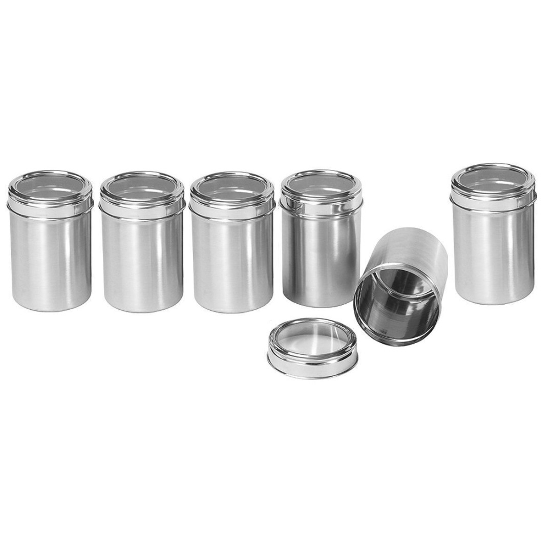 Kitchen Storage Containers 500 Ml Capacity Stainless Steel With Glass Lid Rm 7 Each 6 Pieces Available