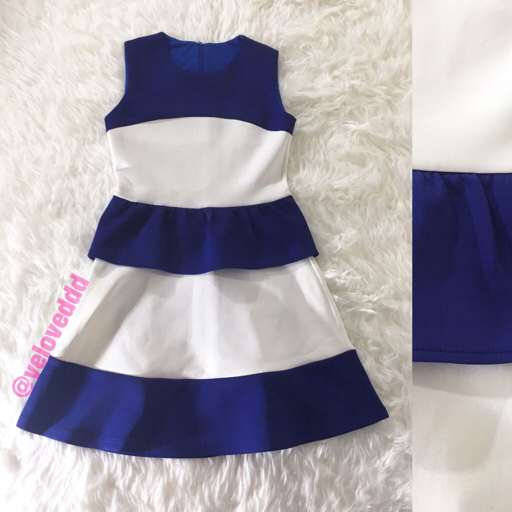 Korean 2tone blue white dress