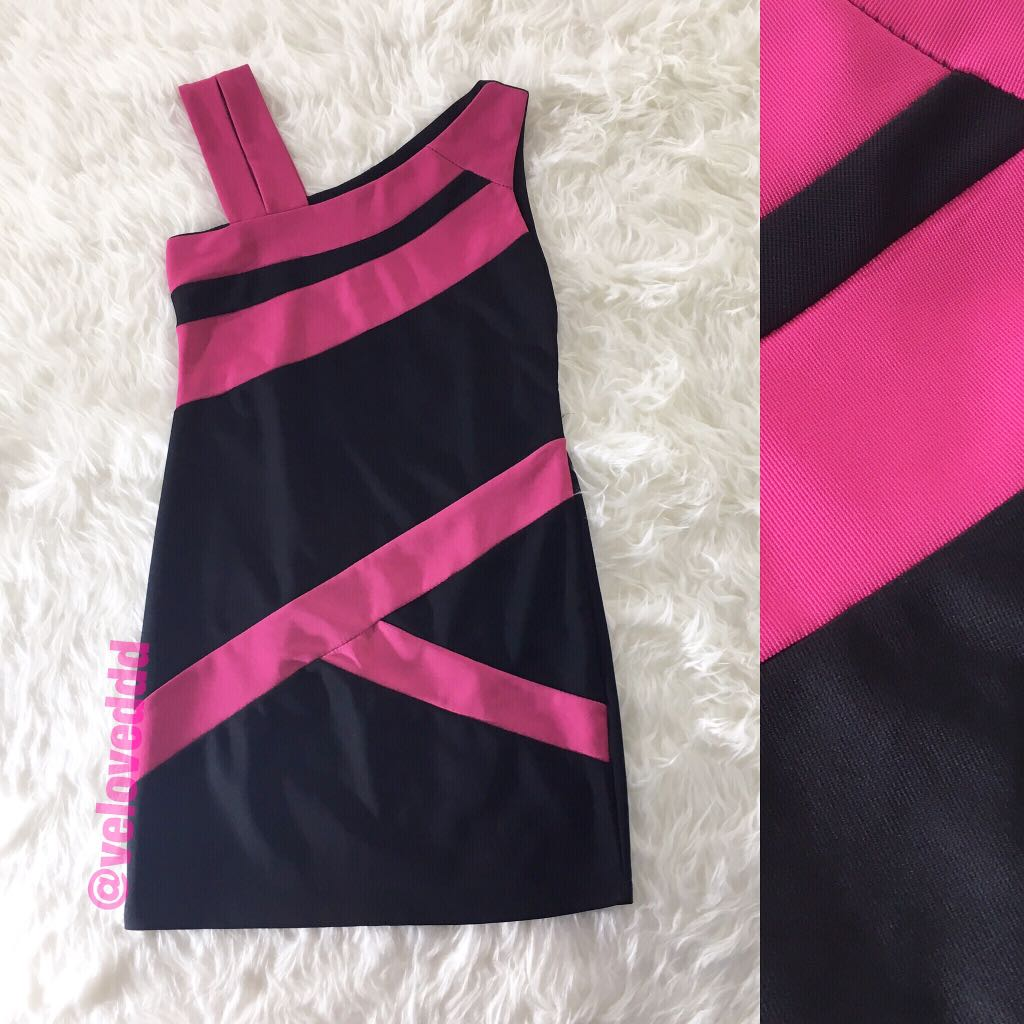 *korean 2tone pink black dress