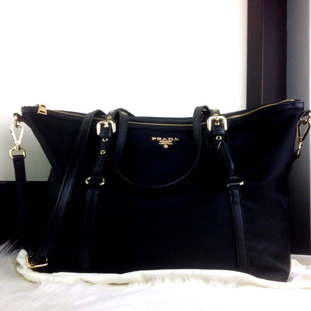 248084ecc6b2 New Arrival Prada Tessuto Saffiano Nylon Shopper Bag