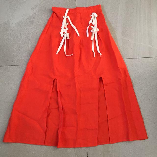 Orange Linen Maxi Skirt